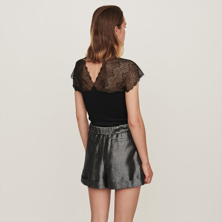 Jersey top with lace trim : Tops & T-Shirts color Black