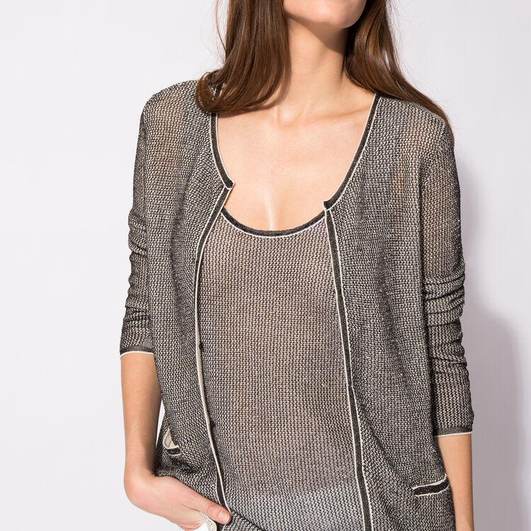 Cotton and lurex knit cardigan : Silver color