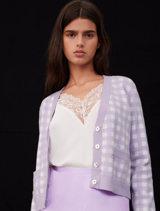 Checked jacquard cardigan : New Collection color Parma Violet