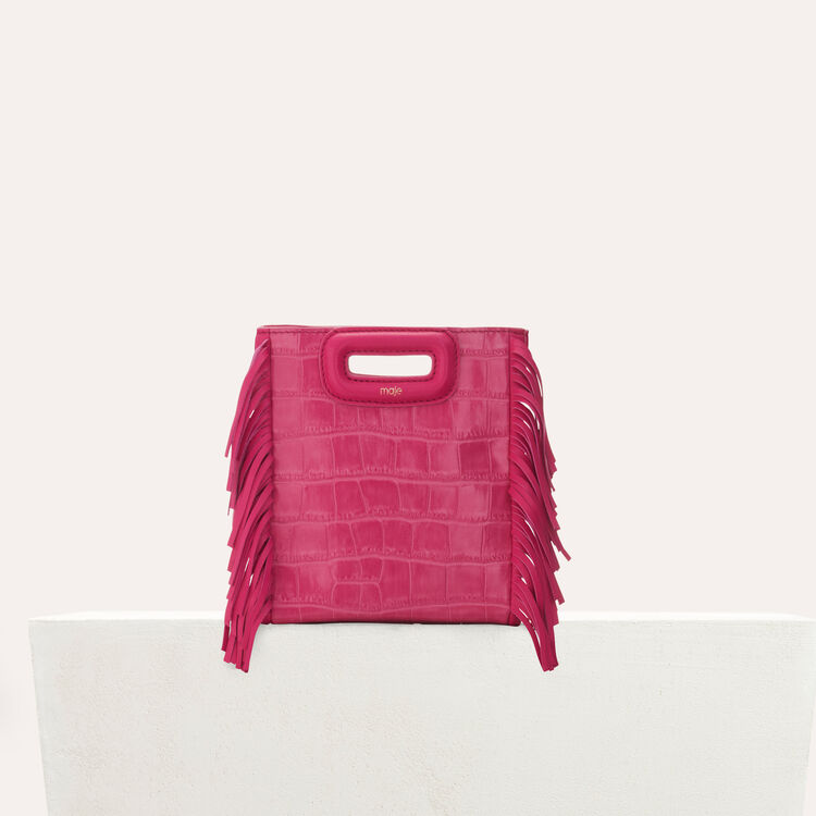 Mini M bag with fringe : Bags color Pink