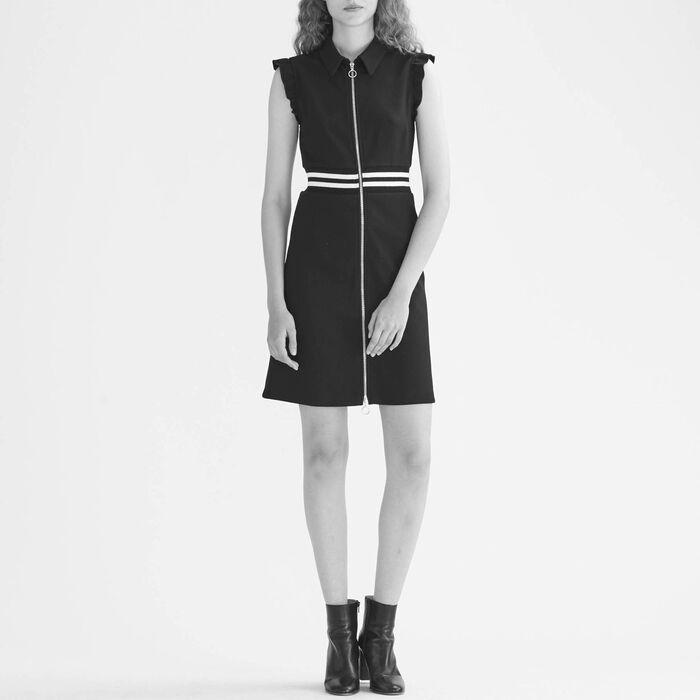 A-line crêpe dress with frills : Dresses color Black 210