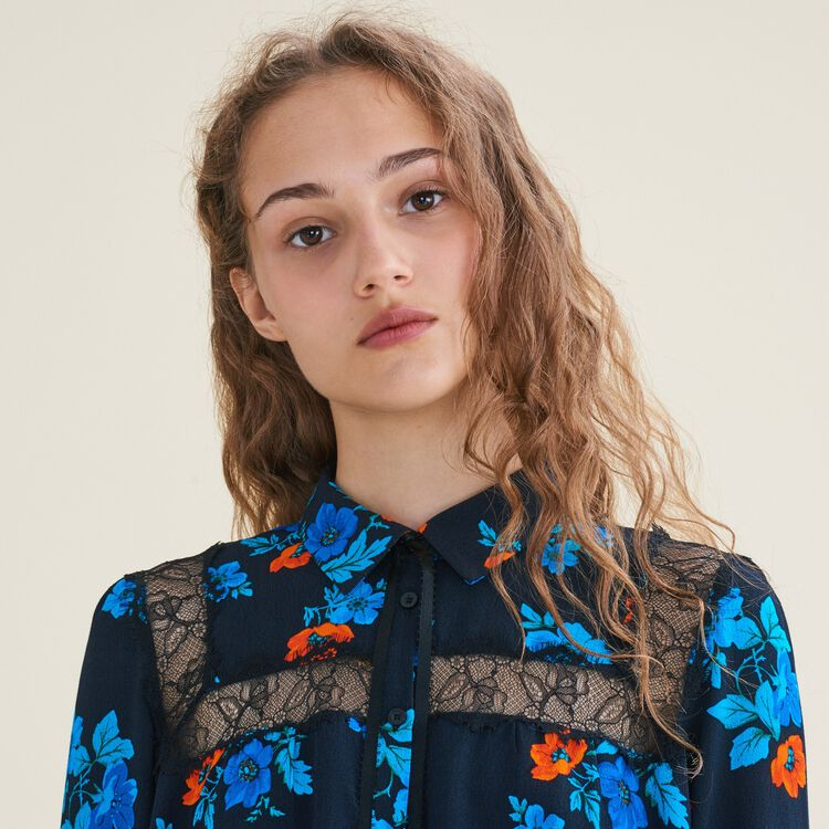 Printed blouse with lace : Tops & Shirts color PRINTED