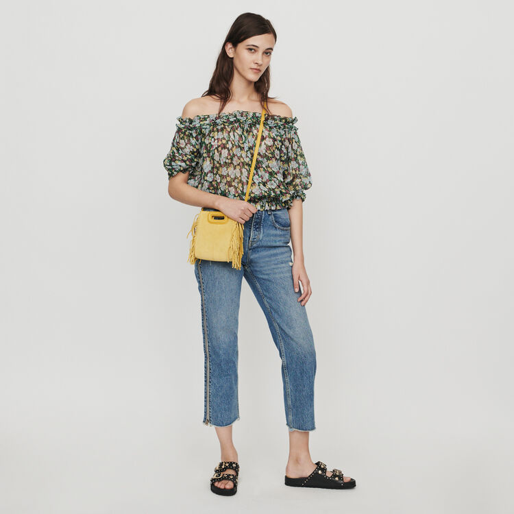 Smocked top in floral print : Tops & T-Shirts color Printed