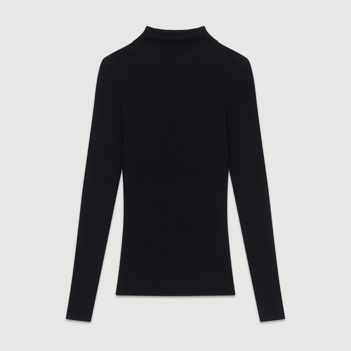 Turtleneck skinny ribbed sweater : The Spring Essentials color Black 210