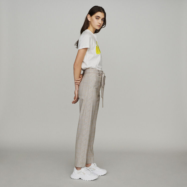Belted checked pants : Pants & Jeans color CARREAUX
