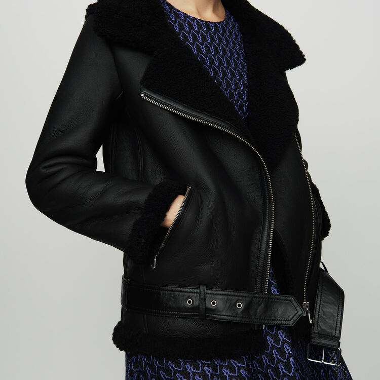 Biker jacket in shearling : Coats & Jackets color Black 210