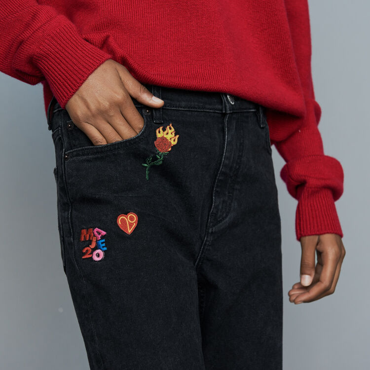 Embroidered straight jean : Pants & Jeans color Grey
