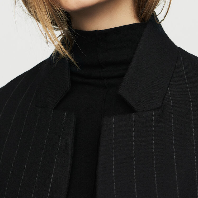 Straight coat with thin stripes : Coats & Jackets color Stripe