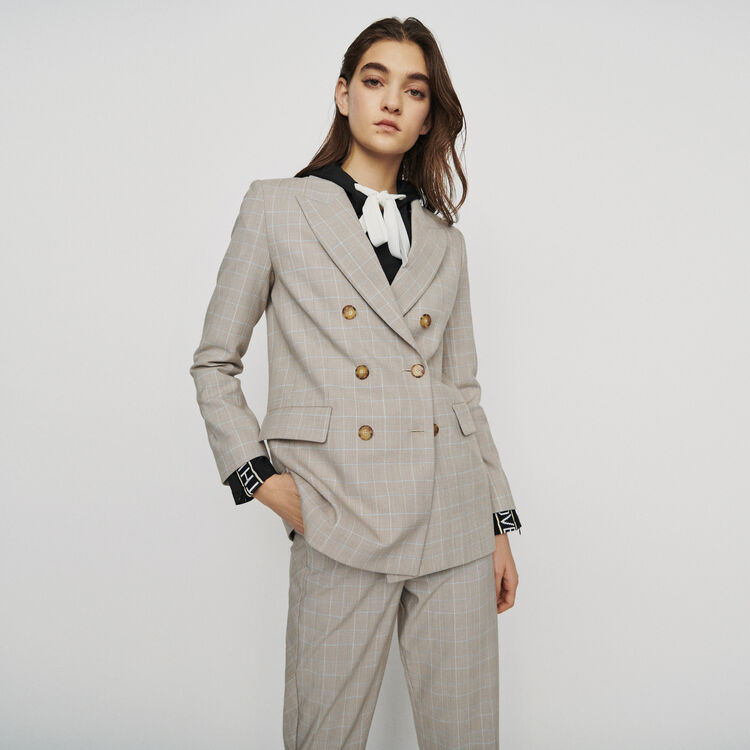 Double-breasted checked blazer : Coats & Jackets color CARREAUX