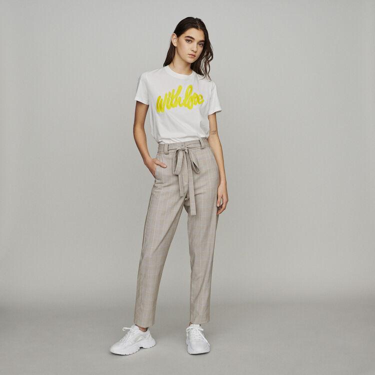 Belted checked pants : Pants & Jeans color CARREAUX