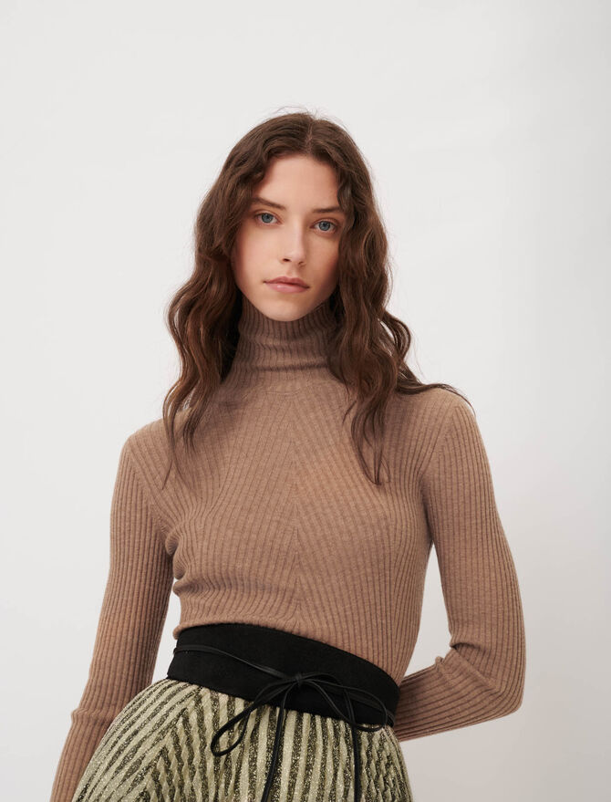 Fine ribbed sweater, stand-up collar -  - MAJE