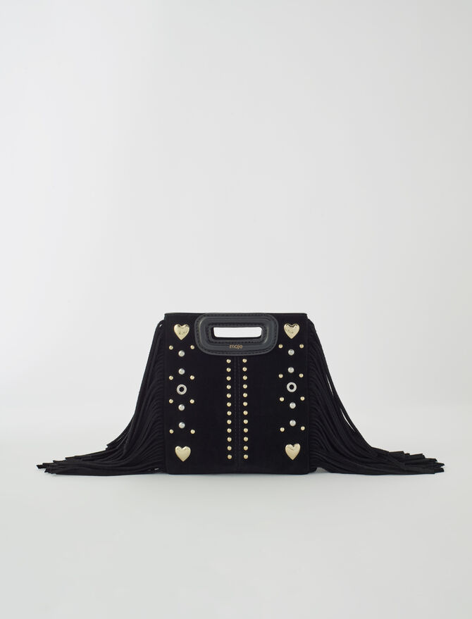 Suede Mini M bag with heart studs -  - MAJE