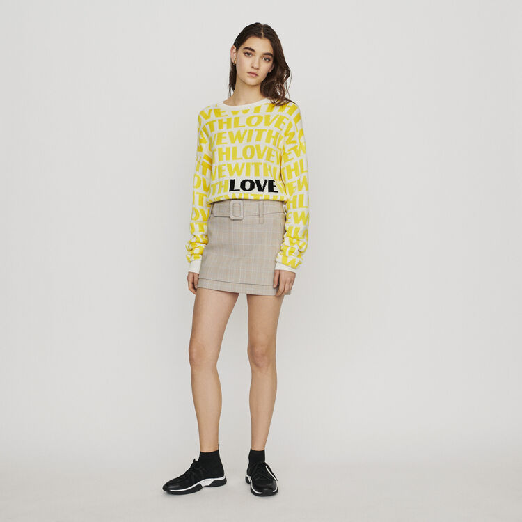 Belted checked short skirt : New in: Spring Collection color CARREAUX