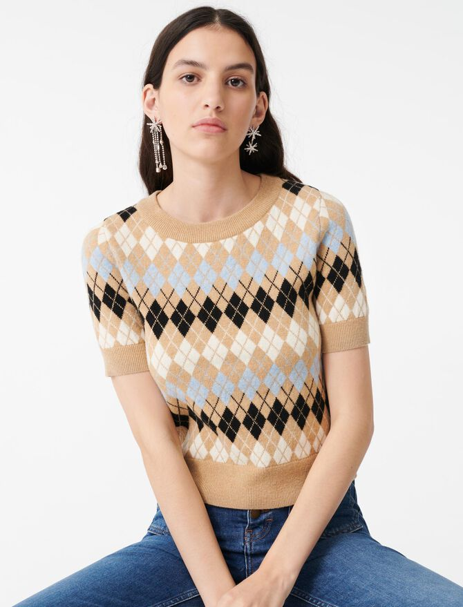 Short-sleeved jacquard sweater -  - MAJE