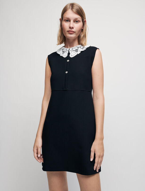 Maje Crepe dress with guipure collar