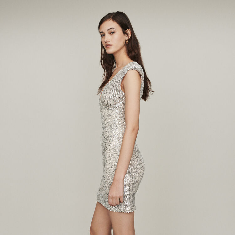 Sleeveless drape dress with sequins : Dresses color Silver