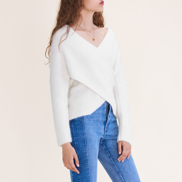 Knitted wrap front jumper : Sweaters color Ecru