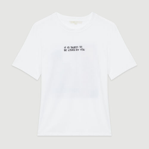 Tee-shirt with slogan : New in: Spring Collection color White