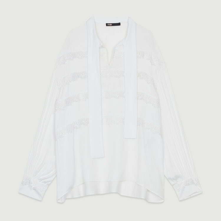 Blouse with embroidered ruffles : Tops & Shirts color White