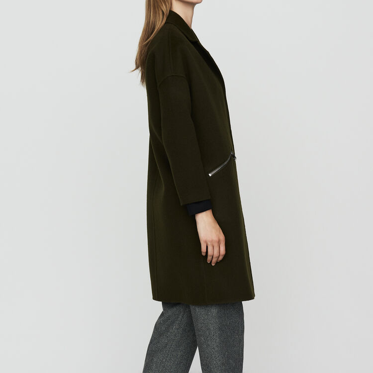 Coat in double-face wool : Coats & Jackets color Khaki
