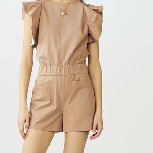 Cotton canvas romper : Jumpsuits color Beige