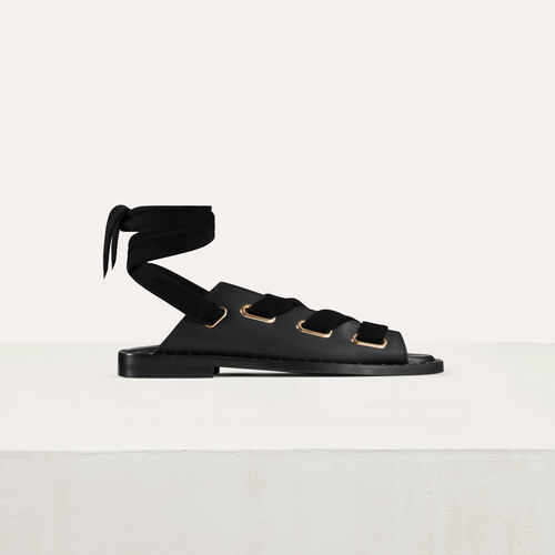 Leather sandals : Shoes & Accessories color Black 210