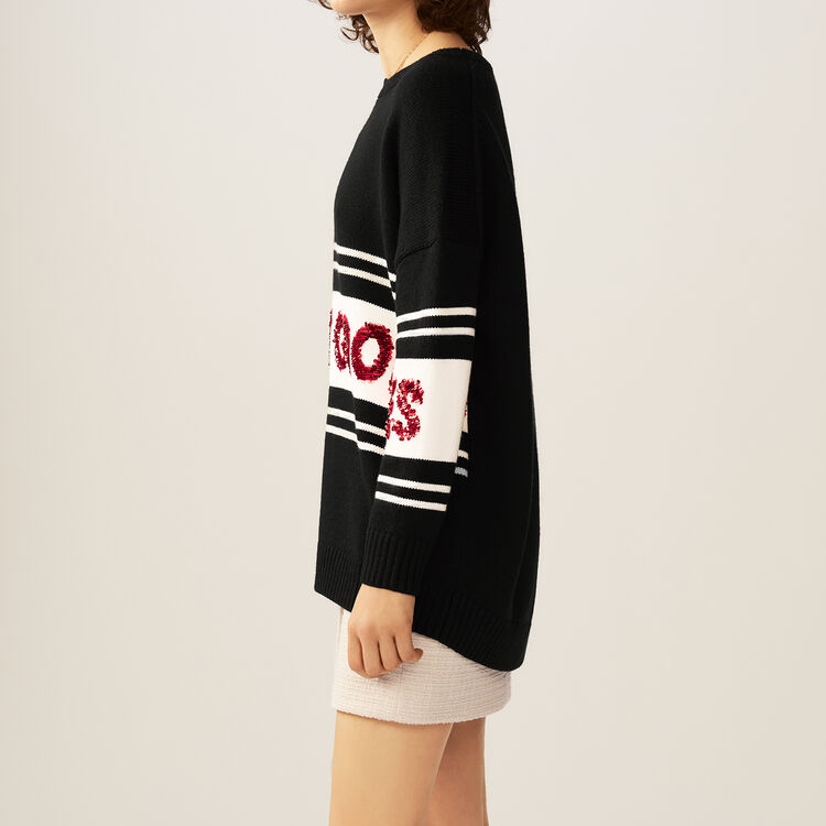 Striped and sequined sweater : Sweaters color Black 210