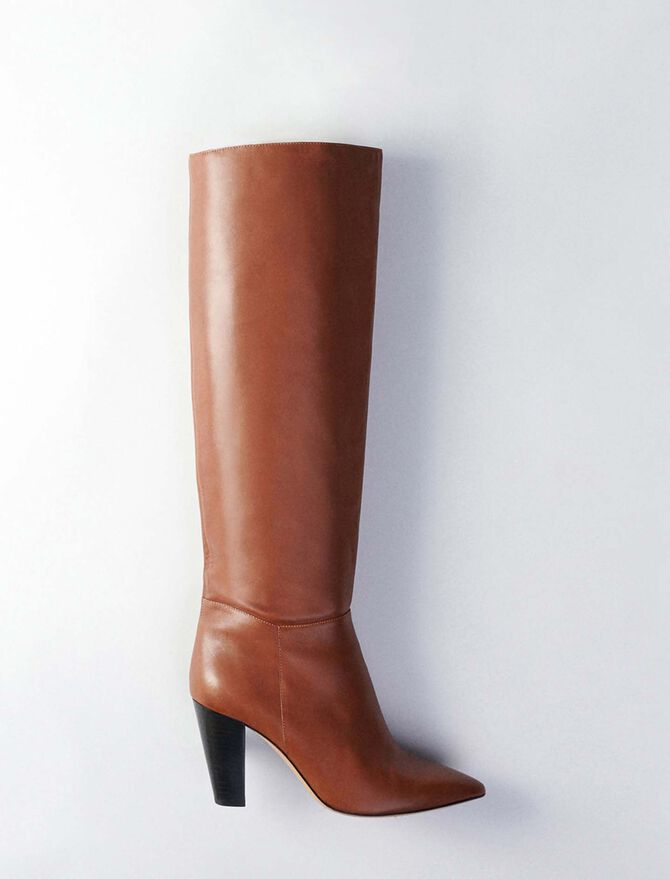 Heeled smooth leather boots - Boots - MAJE