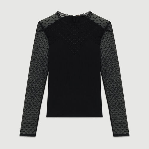 T-shirt in cotton and Swiss dot : Tops & Shirts color Black 210