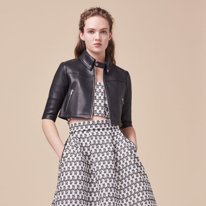 BRITTANY Cropped leather jacket - Coats & Jackets - Maje.com