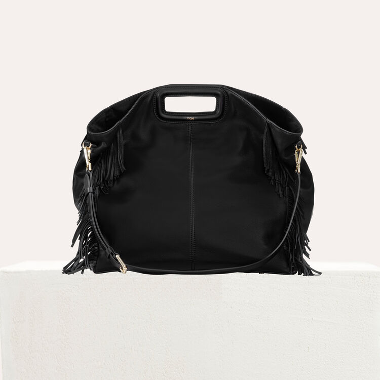 Tote with leather fringe : The Essentials color Black 210