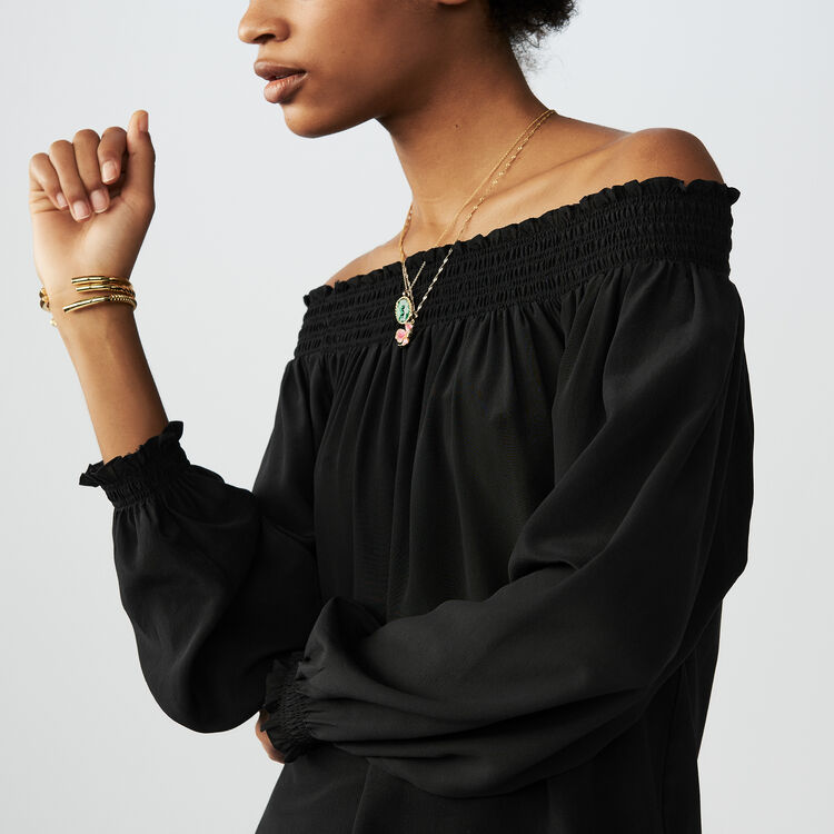 Silk cold-shoulder top : Tops & Shirts color Black 210