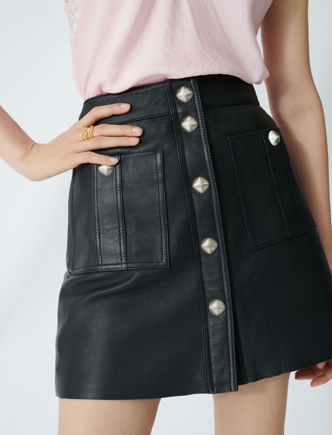 Buttoned A-line leather skirt - Skirts & Shorts - MAJE
