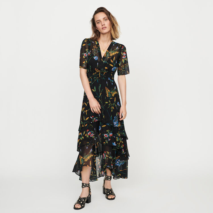 Floral maxi dress with ruffles : Dresses color Black