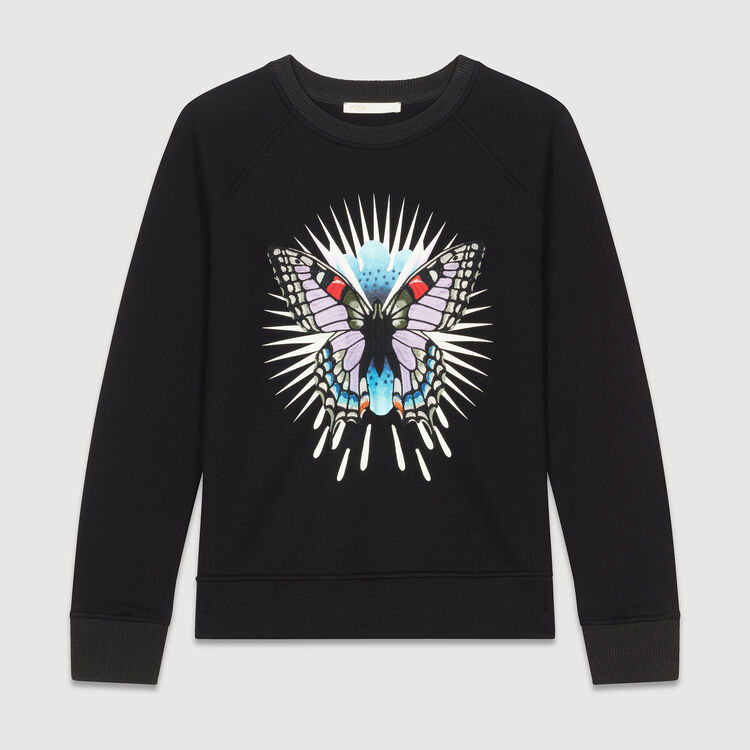 Sweatshirt with embroidered butterfly : Tops & T-Shirts color Black 210