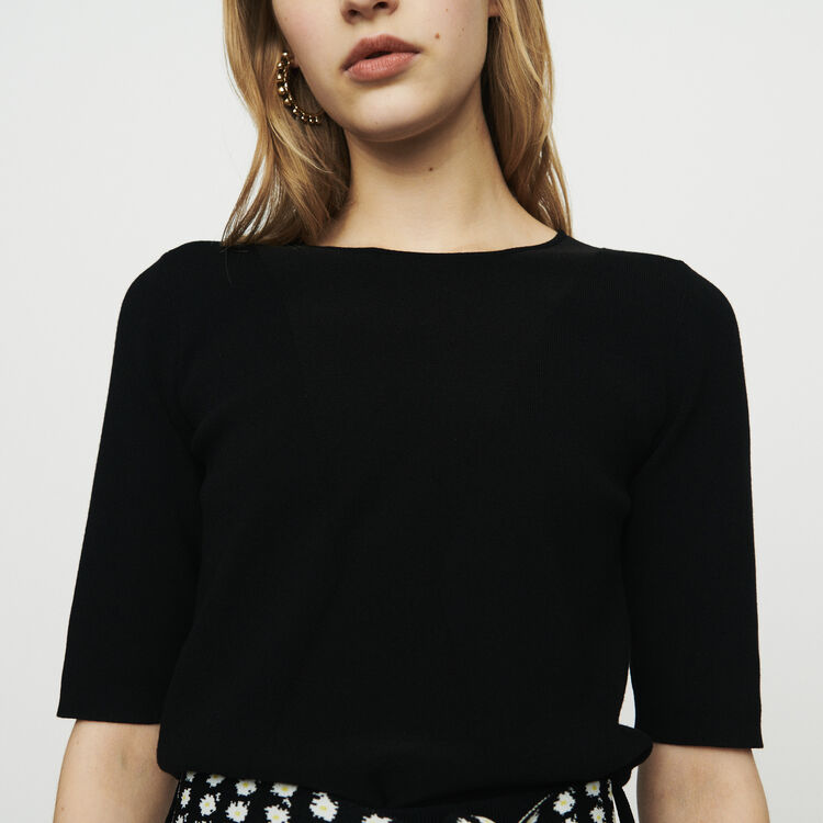 Fine knit sweater with short sleeves : Tops & T-Shirts color Black
