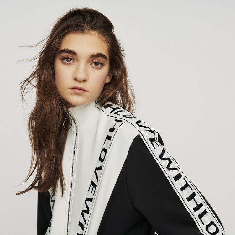 Zipped sweatshirt with slogan band : New in: Spring Collection color BLACK