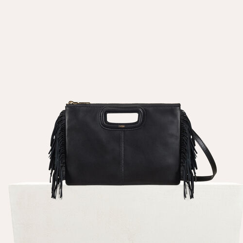 M Duo clutch in leather : The Spring Essentials color Black 210
