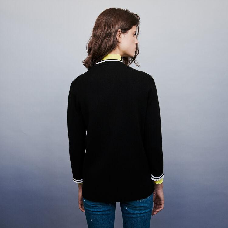 Jeweled contrast cardigan : Sweaters color Black
