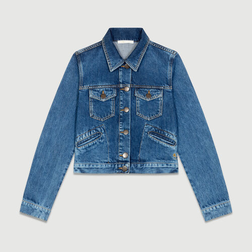 Cropped denim jacket : Coats & Jackets color Blue