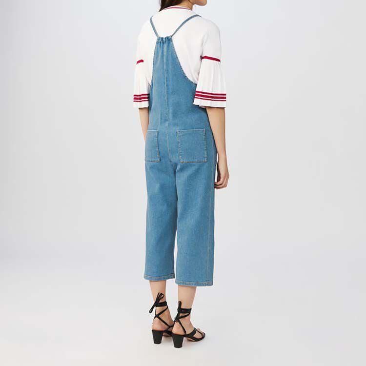 Denim overalls with thin tie-straps : Jumpsuits color Denim