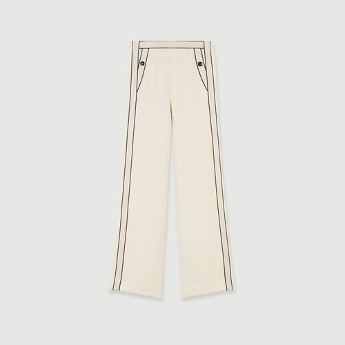 Tweed-style contrast wide-leg pants : Pants & Jeans color Ecru