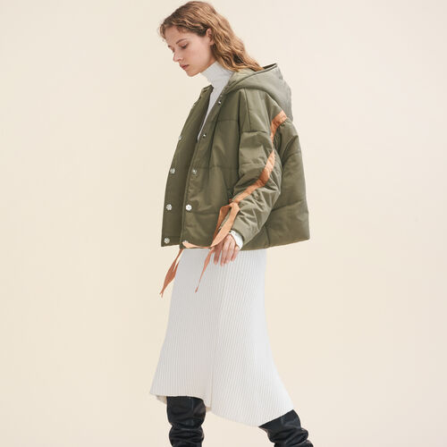 Cropped hooded down jacket : Coats & Jackets color Khaki