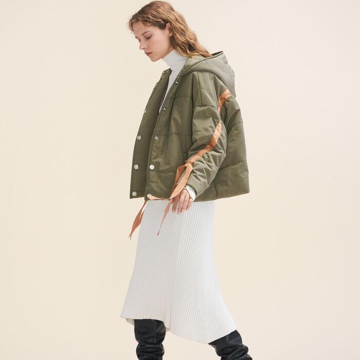 Cropped hooded down jacket : Coats & Jackets color Khaki