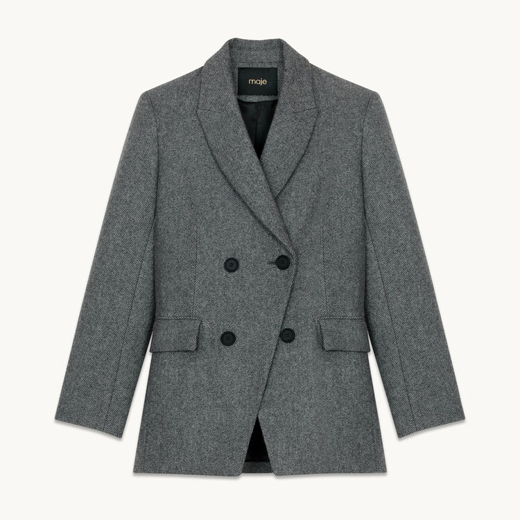 Blazer in wool blend : Coats & Jackets color Grey