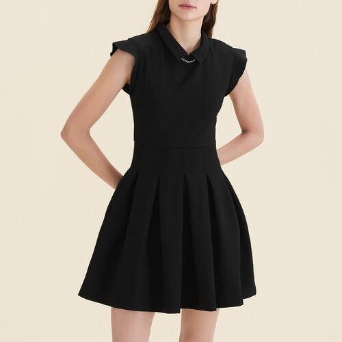 Pleated crêpe dress : See All color Black 210
