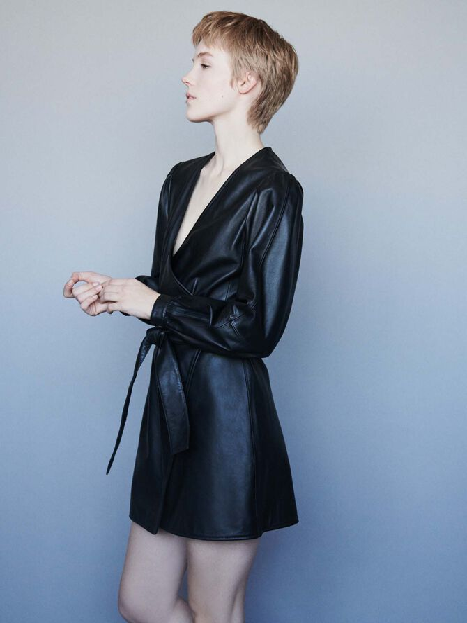 Leather wrap dress - Dresses - MAJE