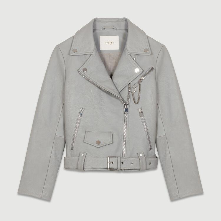 Leather biker jacket : Coats & Jackets color Grey