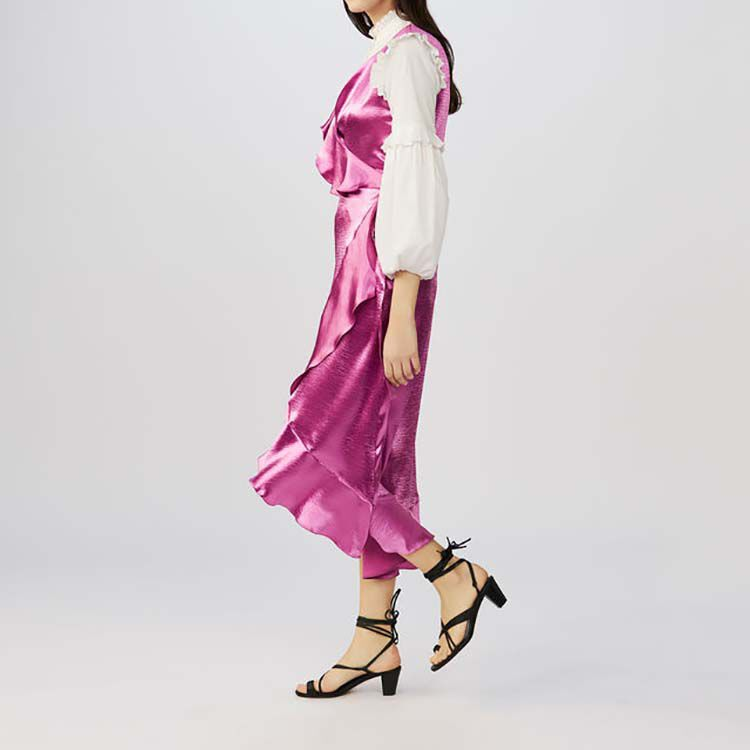 Ripple Sleeveless Satin Wrap Dress Dresses Maje