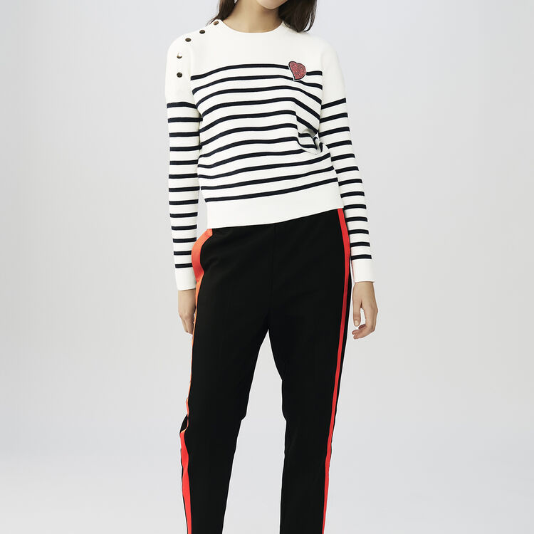 Striped cotton sweater : Sweaters color Two-Tone